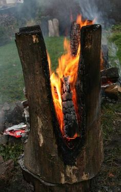 burning out the stump for the end table