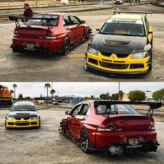 RED OR YELLOW? @evotoeknee_necka_ @jay_rxs #evo #lancer #turbo #instagood #mitsubishi #evolution #evox #instalike #evo9 #import #tuned #jdm #racing #boost #vtec #stance #turbo #racecar