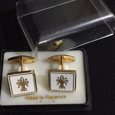 Vintage made in Italy Florentine tooled gilt white leather cuff links in original presentation box. Please see photos for additional information and measurements. | eBay!