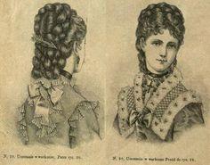 Uczesanie z warkoczami, 1875; Hairstyle with braids, 1875