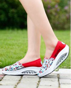 Women's #red slip on #rocker bottom sole shoe sneakers fish pattern vamp, sewing thread design, lightweight, Shock absorption Air-Sole, casual, leisure occasions.