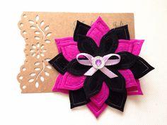 Pink and Black Lotus Hair Clip by MeghanandJulie on Etsy, $5.99