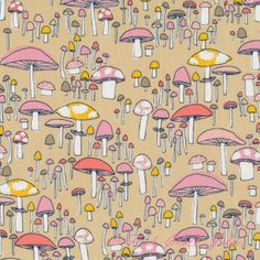Sarah Watson Arcadia Mushroom March Coral ORGANIC [C9F-Arcadia-MushroomMarch-Coral] - $12.45 : Pink Chalk Fabrics is your online source for modern quilting cottons and sewing patterns., Cloth, Pattern + Tool for Modern Sewists