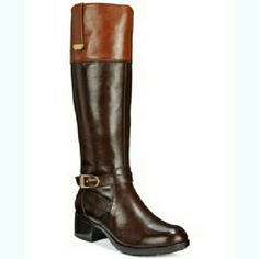 "Bandolino Brown & Cognac Leather  Riding Boots Fashionable and comfy riding boots with 1.5"" heel  offer quintessential silhouette. Bandolino Shoes Heeled Boots"