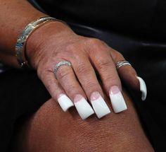 Real Long Nails, Long French Nails, Wide Nails, Long Fingernails, French Manicure Acrylic Nails, Long Acrylic Nails, Duck Feet Nails, Flare Nails, Curved Nails