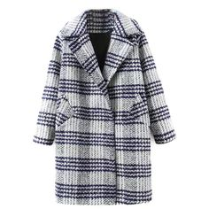 Blue Plaid Lapel Double Breasted Pocket Detail Woolen Coat ($72) ❤ liked on Polyvore featuring outerwear, coats, lapel coat, blue wool coat, wool coat, woolen coat and tartan coat