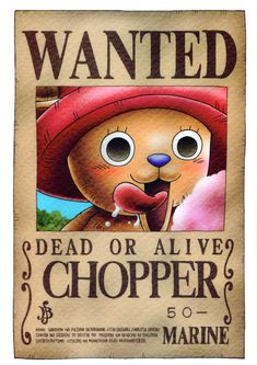 Tony Tony Chopper (One Piece) One Piece Manga, One Piece チョッパー, Zoro One Piece, Chopper One Piece, Otaku Anime, Manga Anime, Wanted One Piece, Tony Tony Chopper, One Piece Bounties