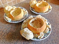 Simple bread bowls for soup. Four ingredients, no kneading!