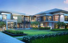 สมาคมธุรกิจรับสร้างบ้าน Home Builder Association Modern House Facades, Modern Architecture House, Big Modern Houses, Contemporary Houses, Pavilion Architecture, Sustainable Architecture, Residential Architecture, House Plans Mansion, Dream Mansion