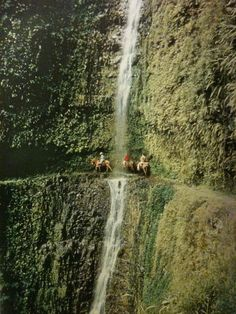 Cliff riders duck behind a waterfall in the Pololu Valley in Hawaii.  National Geographic - July, 1960
