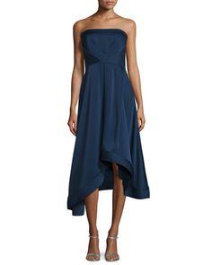 TC0VF Shoshanna Strapless Satin Asymmetric Cocktail Dress