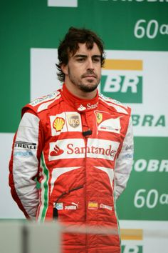 Fernando Alonso on the podium - 2013 Brazilian GP