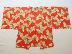Japanese Vintage Kimono Haori Silk Orange White Butterfly P052929 | eBay