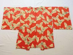 Japanese Vintage Kimono Haori Silk Orange White Butterfly P052929 | eBay