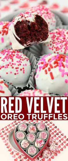 Red Velvet Oreo Truffles feature a delicious red velvet oreo cheesecake filling enrobed in delicious white chocolate.These Red Velvet Oreo Truffles feature a delicious red velvet oreo cheesecake filling enrobed in delicious white chocolate. Just Desserts, Delicious Desserts, Desserts Oreo, Delicious Cupcakes, Oreo Dessert, Chocolate Desserts, Cake Pops, Candy Recipes, Dessert Recipes