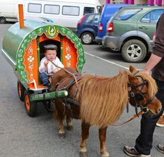 mini man, mini caravan & mini horse at the Ballinasloe Horse Fair, Galway