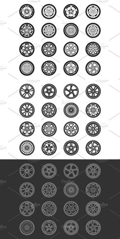 The car wheels set collection on the white background Automotive Furniture, Automotive Art, Car Alignment, Hot Wheels Storage, Go Car, Rims For Cars, Car Sketch, Car Wheels, Step By Step Drawing