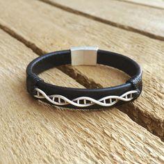 Dna leather bracelet dna helix sterling by CustomLeatherDesign