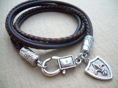 Leather  Bracelet Triple Wrap Mens Bracelet Mens by MalibuCreek, $17.99