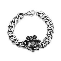 Fashion Stainless Steel Animal Owl Cute Women Bracelet Men Punk Rock Casual Sport Handmade Link Chain Charm New Jewelry Pluseras