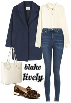 Outfit inspired by Blake Lively: Cream blouse, medium wash skinnies, oversized navy coat, leopard loafers