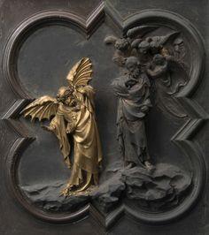 Lorenzo Ghiberti, Porta nord: particolare  della Tentazione di Cristo durante il restauro, courtesy Opera di Santa Maria del Fiore, foto Antonio Quattrone