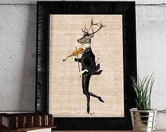 Deer Art Marsala Glamour Deer Deer décor Deer von LoopyLolly