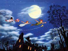 Peter Pan ''And Away They Flew to Never Land'' Giclée shopDisney Peter Pan Disney, Disney Films, Disney Pixar, Disney Magic, Disney Art, Peter Pan Art, Peter Pans, Maria Dolores, Disney Princess Pictures