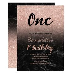Faux Rose Gold Glitter Black Marble First Birthday Card