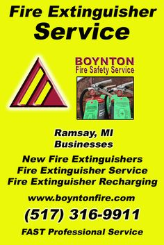 Fire Extinguisher Service Ramsay, MI (517) 316-9911Local Michigan Businesses Discover the Complete Fire Protection Source.  We're Boynton Fire Safety Service.. Call us today!