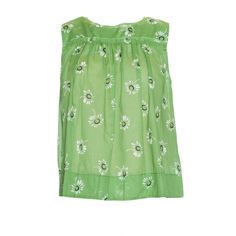 Marc Jacobs Top ($200) ❤ liked on Polyvore featuring tops, sleeveless tops, daisy top, green top, green sleeveless top and marc jacobs