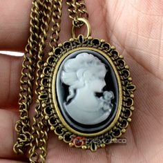 Antique White Cameo Beauty Quartz Pocket Watch Necklace Chain Men Women Gift EA #Unbranded