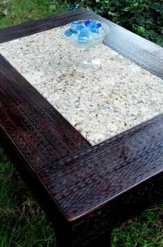 Coffee Table-wood And Tile-handmade-tan Granite-dark Brown Distressed…