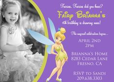 Tinkerbell Personalized Birthday Invitations by PinkSkyPrintables