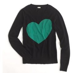 J. Crew heart me tippi in navy and green J. Crew heart me tippi in navy and green. Merino wool blend. Only worn once...in excellent condition! J. Crew Sweaters