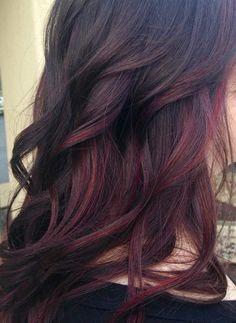 Purple maroon dyed hair