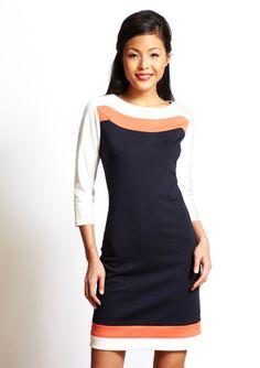 SHARAGANO  Colorblock Shift Dress