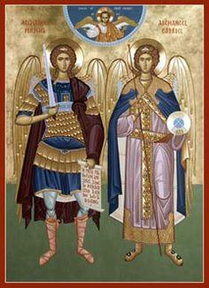 michael and gabriel russian orthodox icon