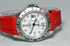 Rolex Explorer 2 with a Red Devil Rubber B strap
