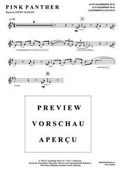 >>> KLICK auf die Noten um Reinzuhören <<< Pink Panther (Alt-Saxophon) von Henry Mancini für Noten und Playback zum Download für verschiedene Instrumente bei notendownload Blockflöte, Querflöte, Gesang, Keyboard, Klavier, Klarinette, Saxophon, Trompete, Posaune, Violine, Violoncello, E-Bass, und andere ...