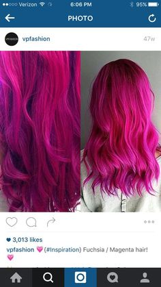 Ideas for hair ombre magenta curls Hair Color Pink, Hair Color And Cut, Hair Colors, Fusha Hair, Rose Fushia, Beautiful Hair Color, Pretty Hair, Coloured Hair, Wild Hair