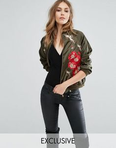 A STAR IS BORN EMBROIDED BOMBER JACKET WITH ROSE DETAIL AND BEADS #style #fashion #trend #onlineshop #shoptagr