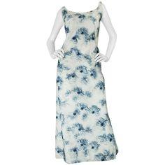 c1963 Maggy Rouff Haute Couture Pale Blue Net & Ribbon Dress