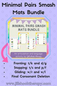 Minimal Pairs Smash Mats for Playdoh- articulation and language activity