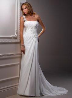 Sheath One Shoulder Beaded Lace Applique Ruched Bodice Chiffon Wedding Dress-ws0041, $219.95