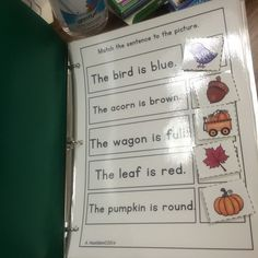 Matching sentences to pictures, great for comprehension, matching, reading, centers, autism strategies.  Laminated and Velcro for interactive activity.  Part one of a series.