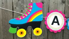 Roller Skate Banner Roller Skate Birthday Banner by CraftyCue Roller Skating Party, Skate Party, Rolling Skate, Party Central, Retro Party, Son Luna, Favor Bags, Summer Crafts, Birthday Parties