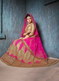 Pink Embroidery Resham Work Golden Lace Border Net A-Line Wedding Lehenga Choli http://www.angelnx.com/Lehenga-Choli/Wedding-Lehenga-Choli