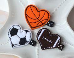 Sports Hair Clip Set for Girls- Football, Basketball, Soccer Ball Hair Clips- Heart Shaped and So Cute