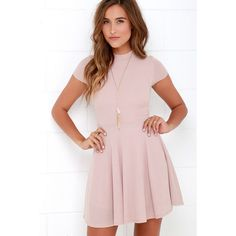 Endless Entertainment Blush Short Sleeve Skater Dress ($46) ❤ liked on Polyvore featuring dresses, pink, pink skater skirt, lulu dresses, flared skirt, pink circle skirt and mock neck dress
